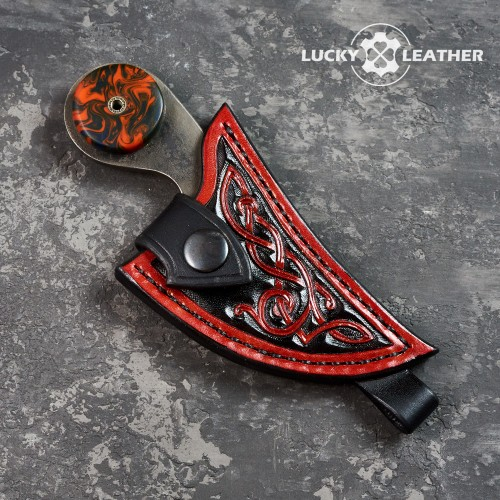 Knife and scabbard set Beaver Claw Black and Red