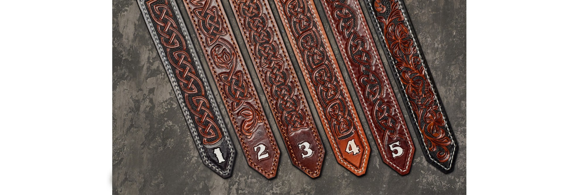 Leather embossed handmade belts