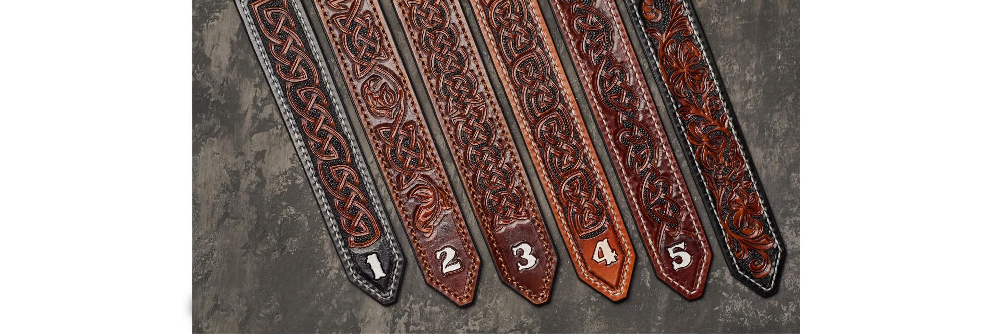 Leather embossed handmade belts